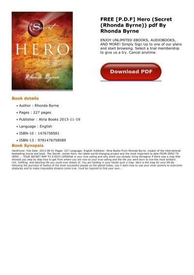 the hero by rhonda byrne free download