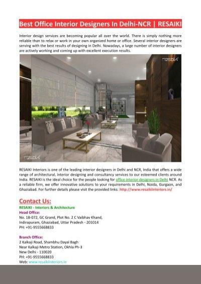Best Office Interior Designers In Delhi Ncr Resaiki Interiors
