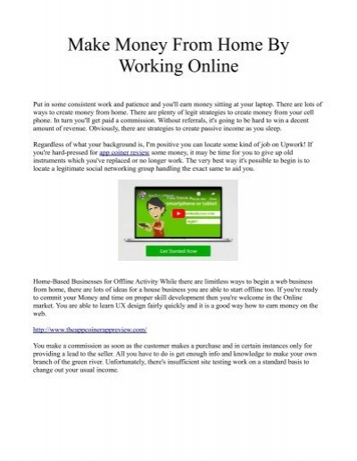 Make Money From Home By Working Online