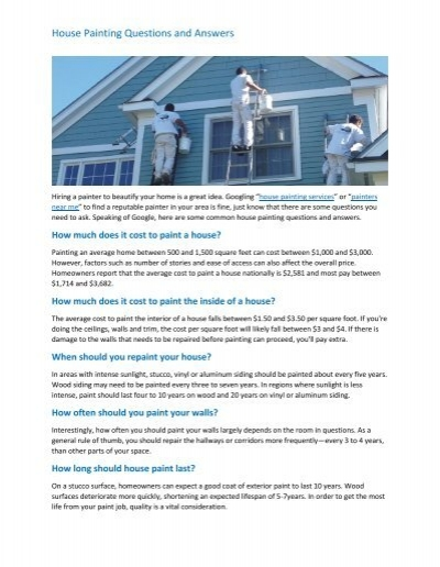 House Painting Questions And Answers