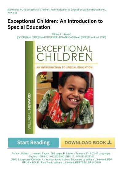 Pdf Exceptional Children An Introduction To Special Education By William L Heward Pdf Epub Kindle