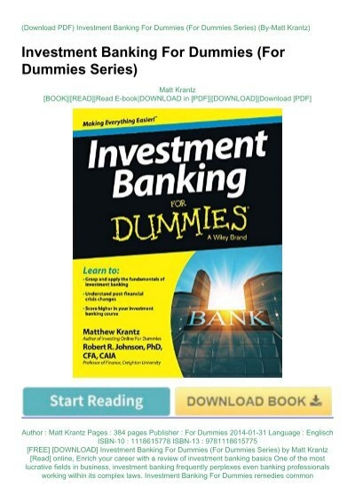 investment banking for beginners pdf