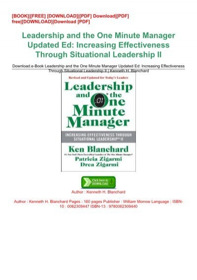 Download E Book Leadership And The One Minute Manager Updated Ed Increasing