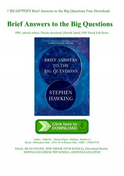 brief answers to the big questions pdf free