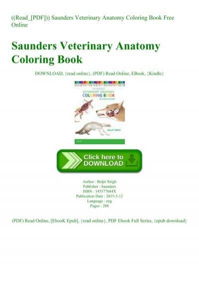 - Read_[PDF])) Saunders Veterinary Anatomy Coloring Book Free Online