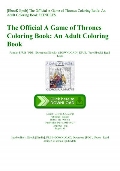 EbooK Epub] The Official A Game of Thrones Coloring Book An ...