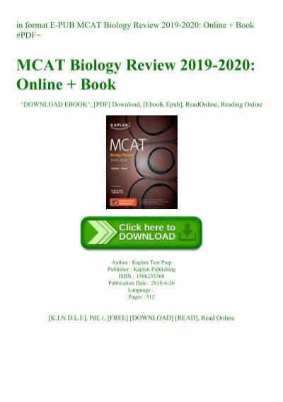 In Format E Pub Mcat Biology Review 2019 2020 Online Book